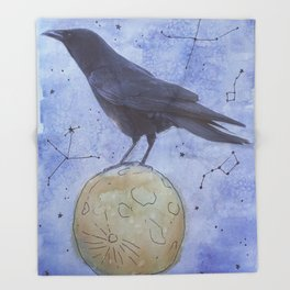 The Raven and The Moon Throw Blanket