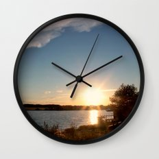 Evening sun and the river. The summer Wall Clock