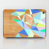 wooden iPad Cases featuring Wooden Geo Aqua by Jenna Mhairi