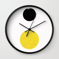 sun and moon Wall Clocks featuring Sun and Moon by Georgiana Paraschiv