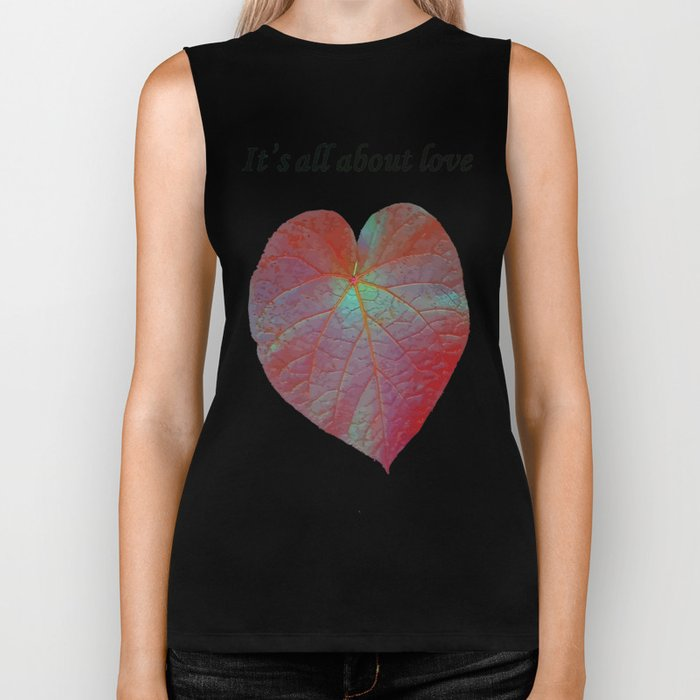 It's All About Love Heart Leaf Vector With Text Biker Tank