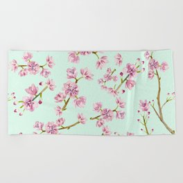 Spring Flowers - Mint and Pink Cherry Blossom Pattern Beach Towel
