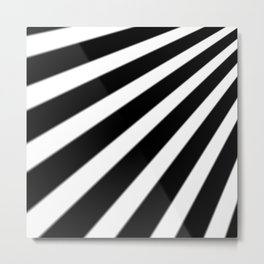 Black and White Stripes Metal Print