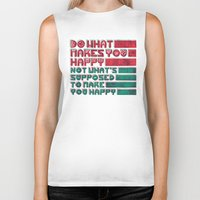 be happy Biker Tanks featuring Happy by Hector Mansilla
