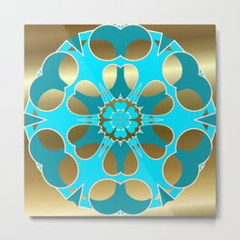 Lite Blue Snowflake on Gold Metal Print