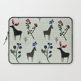Berry loving deers on a green background Laptop Sleeve