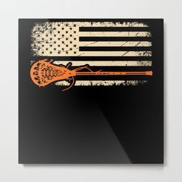 American Flag Sports For Player Lacrosse Metal Print