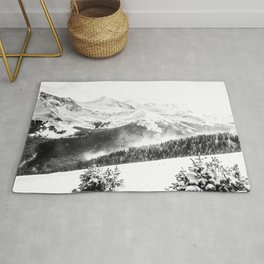 Fresh Snow Dust // Black and White Powder Day on the Mountain Rug