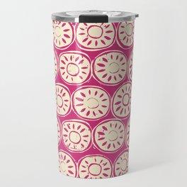 flower block ivory pink Travel Mug