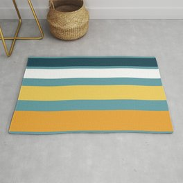 Wide Stripes in Turquoise Blue White Mustard Yellow and Orange Rug
