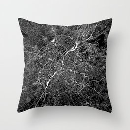 Brussels Black Map Throw Pillow