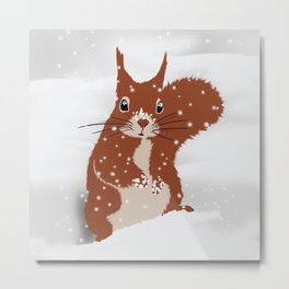Red squirrel in the winter snow with white snowflakes cute home decor nursery drawing Metal Print