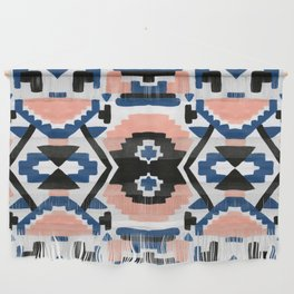 Geometric Aztec - coral and lapis Wall Hanging