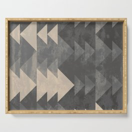 Geometric triangles abstract pattern - Gray tones & Beige Serving Tray