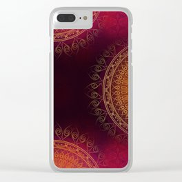 """""""Scarlet & Gold Mandala Deluxe"""" Clear iPhone Case"""