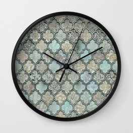 Old Moroccan Tiles Pattern Teal Beige Distressed Style Wall Clock