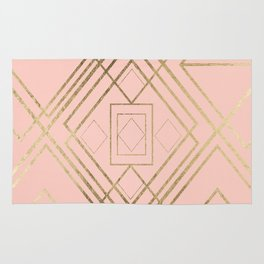 Modern coral faux leather faux gold geometrical pattern Rug