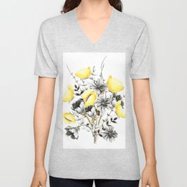 Poppies And Chicory Wildflower Bouquet Unisex V-Neck