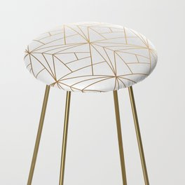 Geometric Gold Pattern With White Shimmer Counter Stool