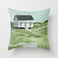 Cottage on the beach Throw Pillow