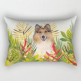 Collie Dog sitting in Garden Rectangular Pillow