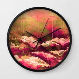 IT'S A ROSE COLORED LIFE 2 - Colorful Floral Garden Chic Abstract Pink White Olive Green Painting Wall Clock