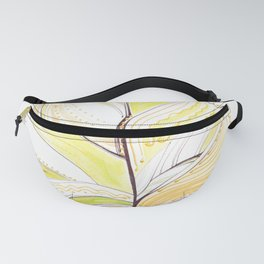 Decorative drawing of a birch leaf Fanny Pack