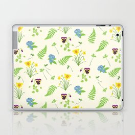 Spring Flowers and Ferns Illustrated Pattern Print Laptop & iPad Skin