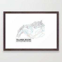 Telluride, CO - Minimalist Trail Maps Framed Art Print