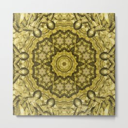 abstract massed wattle mandala in yellow Metal Print