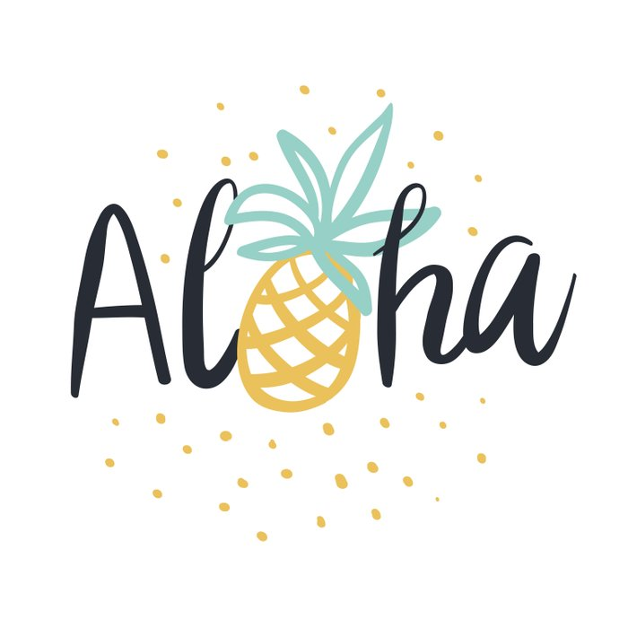 Aloha lettering and pineapple Duvet Cover