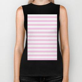 Narrow Horizontal Stripes - White and Classic Rose Pink Biker Tank