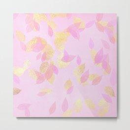Rose Gold Blush & Gold Falling Leaves Metal Print