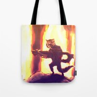rocket raccoon Tote Bags featuring Rocket Raccoon by Mimi JJ