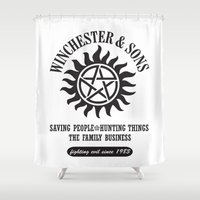 sam winchester Shower Curtains featuring SUPERNATURAL WINCHESTER AND SONS by thischarmingfan