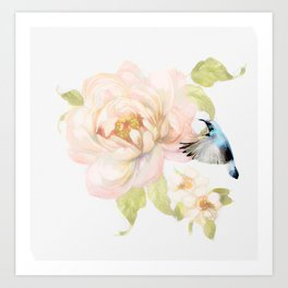 Garden Flower Hummingbird Paining 02 Art Print