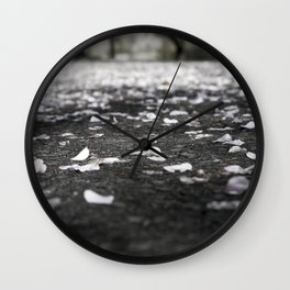 Black and White Flower Petals on Pavement Road Photograph Wall Clock