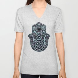 Watercolor Blue Pink Hamsa Hand Unisex V-Neck