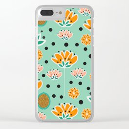 Summer flowers in mint Clear iPhone Case