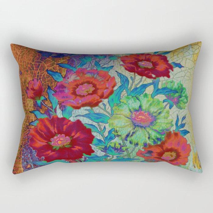 floral old tile Rectangular Pillow