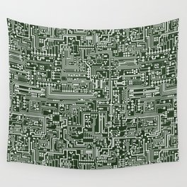 Circuit Board // Green & White Wall Tapestry