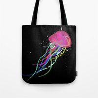 jelly fish Tote Bags featuring Jelly Fish by Noel Mendoza
