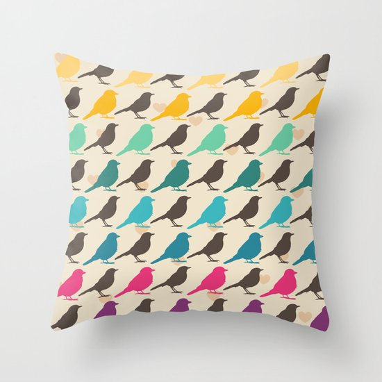 Colorful Bird Throw Pillows : Colorful birds pattern Throw Pillow by Mrs. Opossum Society6