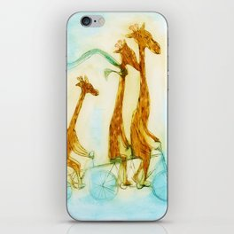 Family of giraffes rides a bicycle-tandem iPhone Skin