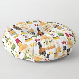 Whiskey Bottles Illustration Floor Pillow