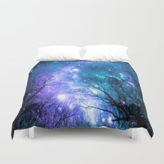 Black Trees Violet Teal Space Duvet Cover