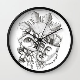 Drama Mask Hibiscus Sampaguita Flower Philippine Sun Tattoo Wall Clock