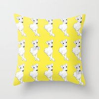 puppies Throw Pillows featuring whippet puppies  by Emese M