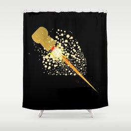 Flying Rocket Powered Cork Shower Curtain