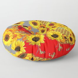 MODERN ABSTRACT RED CARDINAL YELLOW SUNFLOWERS GREY ART Floor Pillow